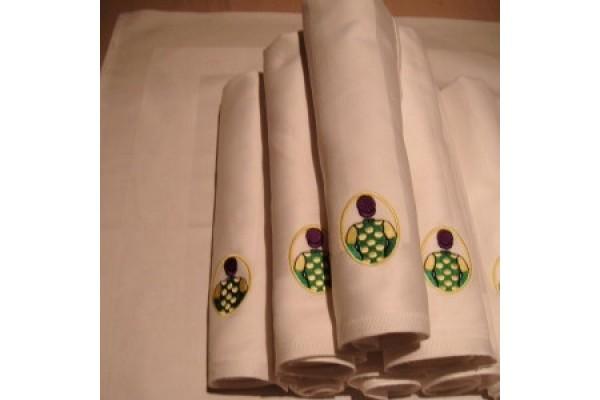 Set of Six White Linen Napkins